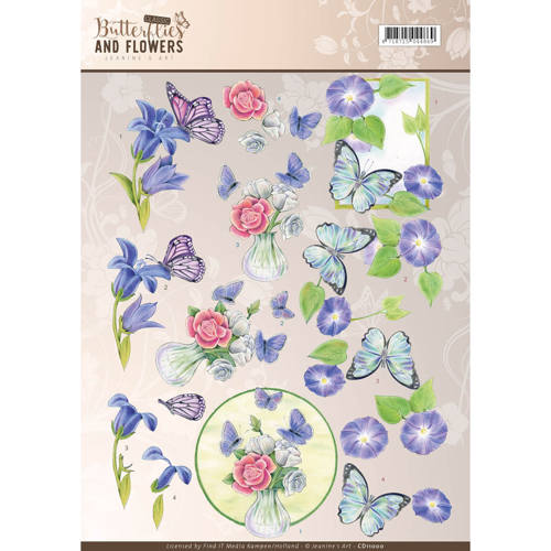 3D Knipvel - Jeanine`s Art - Classic Butterflies and Flowers - Blue Flowers - CD11000