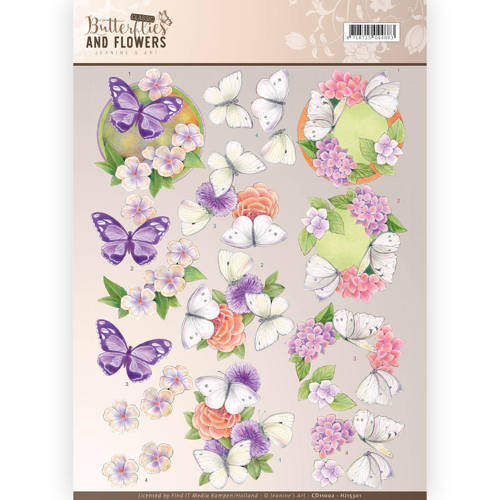 3D Knipvel - Jeanine`s Art - Classic Butterflies and Flowers - Purple Flowers - CD11002