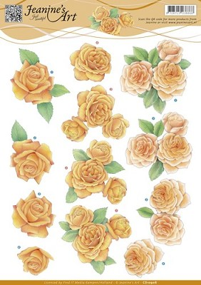 3D Knipvel - Jeanine`s Art - Orange Roses - CD10908