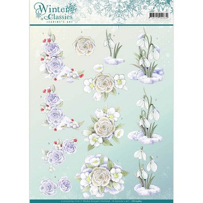 3D Knipvel - Jeanines Art - Winter Classics - Snow flowers - CD10969