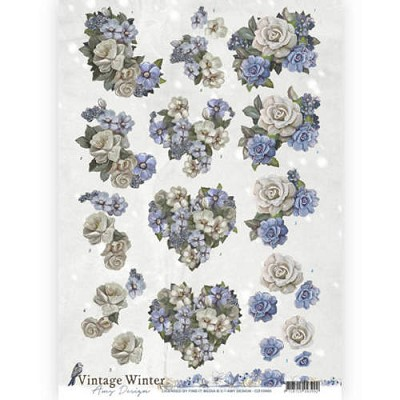 3D knipvel - Amy Design - Vintage Winter - Winter Flowers - CD10985