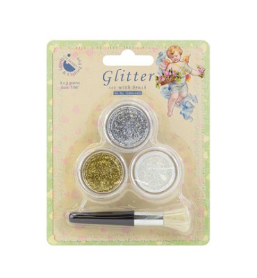 3 potjes met Glitter - Goud, Zilver en Wit - Hobby and Crafting - 12344-4402